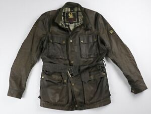 BELSTAFF Trialmaster Jacket Olive Waxed Cotton L Large $675 Gold Label Italy