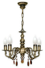 CHANDELIER 5 ARMS TRADITIONAL CEILING LIGHT - ANTIQUE BRASS FINISH - ANTARES