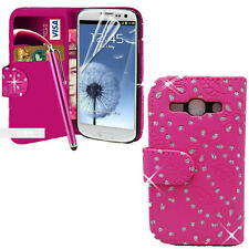 Pink Diamond Wallet Pouch PU Leather Cover For Samsung Galaxy ACE 4 SM-G357fz