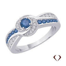 0.65CT Blue and White Diamond Ring F SI in 14KT W Gold