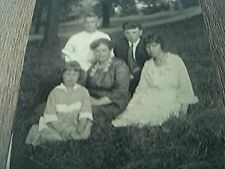 postcard real photograph undated b/w family group woods park