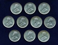 AUSTRALIA GEORGE V 1917-M  1 SHILLING SILVER COINS, GROUP LOT OF (10)