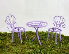 Dollhouse Miniature Fairy Garden Tiny Colored Wire Patio Set, Purple