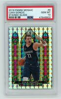 Luka Doncic Mavericks 2019 Panini Mosaic Stained Glass Prizm Card #9 PSA 10 MINT