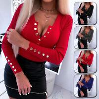 Women's Wrap Deep V Neck Long Sleeve T Shirt OL Casual Blouse Tops