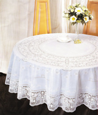 Elegant Round 135CM White Plastic Vinyl Lace Tablecloth Party Decorative Cover