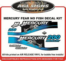 MERCURY 200 FEAR NO FISH Saltwater Decal Kit  115 150 175 200 250  optimax EFI