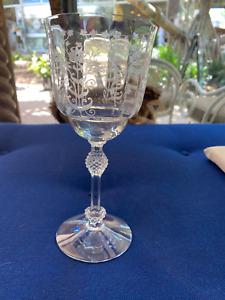 15 Edwardian Etched Crystal Wine Glasses