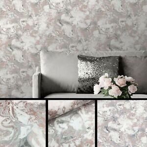 Muriva Elixir Liquid Marble Wallpaper Washable Swirl Smooth Rose Gold 166502 UK
