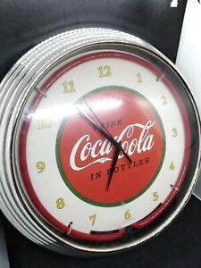 "Coca-Cola 1910 Style Red Neon Hanging Wall Clock 15"" Diameter Neonetics 8CCCLA"