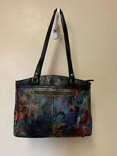 Patricia Nash Handbag Floral Blue Black Green Tan Red with dust cover Beautiful