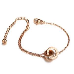 Adjustable Women Bracelet Roman Number Bangles Charm Stainless Steel Rose Gold
