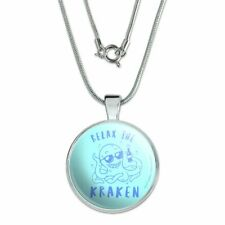 """Relax the Kraken Funny Humor 1"""" Pendant with Sterling Silver Plated Chain"""