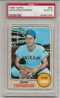 1968 TOPPS #83 JOHN STEPHENSON, PSA 9 MINT, SET BREAK- CHICAGO CUBS, L@@K