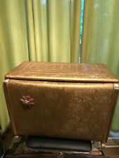 Vintage Mid Century Pearl Wick Pearlwick Basket Hamper Laundry Gold With Brass H