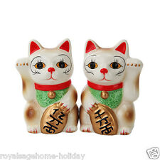 10395 Japenese Maneki Neko Cats Magnetic Salt Pepper Shaker Set  Lucky Feline