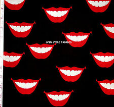 1YD A Henry VALENTINE SMOOCHIE LIPS KISS SMILES Teeth Mouth De Leon Fabric BLK