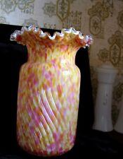 c1900 French Legras Crimp Rim Pink Yellow Spatter Art Glass Cylinder Swirl Vase