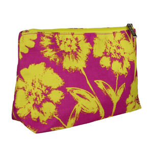 Clinique Fuschia with Neon Lemon Flowers Cosmetic Makeup Travel Bag