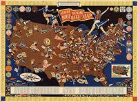 Historical Albert Richard US Football Map College Vintage Wall Art Poster Decor