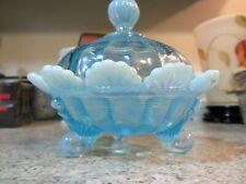 Mosser Glass Aqua Opalescent Covered Candy Dish