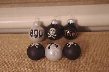 New Set of 6 Mini Halloween Fall Ball Glass Ornaments Glitter Skeleton Boo Black