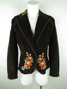 Kikit Jeans Women S Brown Corduroy Embroidered Fringe One Button Blazer Jacket