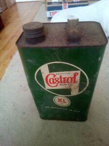 Vintage Wakefield Castrol 1 Gallon XL Motor Oil Can Tin Garage Automobilia
