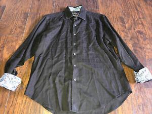 Robert Graham Mens Long Sleeve Flip Cuff Button Down Casual Shirt Size Large