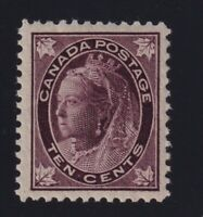 Canada Sc #73 (1897) 10c violet brown Maple Leaf Mint VF NH