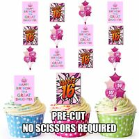 PRECUT 16th Birthday Daughter Cake Decorations Edible Cupcake Toppers Pack of 12
