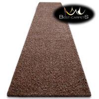 Modern Hall Runners soft SHAGGY Carpet 5cm Brown Width 60-140cm long RUGS