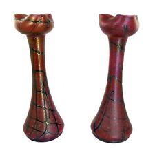 Paar grosse Vasen aus lebrigrotem Glas mit Fadenaufschmelzungen, Pallme König