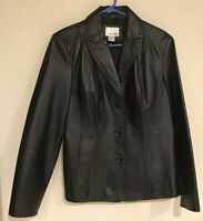 East 5th Women's Black Leather Jacket Blazer Coat Lined Button Down Size Medium