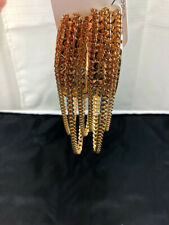 Gold Pyramid Texture Chunky Drop Chains Earring with Stabilizer Back