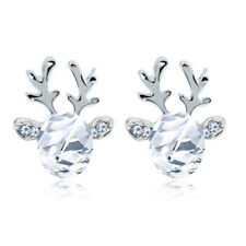 Fashion Antlers Stud Earrings for Women Crystal Christmas Jewelry Gifts Girls