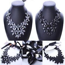 Crystal Flower Ribbon Chain Bib Statement Necklace Collar Chunky Women
