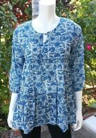 WOMEN'S BLUE TUNIC BOHO BLOUSE Pullover made in India M