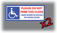 2 x Disabled Sticker Wheelchair Mobility Car Parking Sticker Vinyl Leave Access