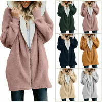 Coat Fleece Fur Fuzzy Hoodie Outerwear Warm Size Women Winter Jacket Plus Fluffy