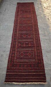2'8 x 12'8 Handmade vintage afghan adraskan kilim runner rug, Tribal rug runner