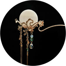 Exquisite Hand Made Carved Moon Dream Golden Purls Hair Pin