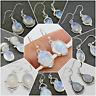 NATURAL RAINBOW MOONSTONE HANDMADE DESIGNER EARRING 925 SOLID STERLING SILVER