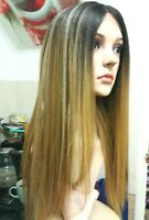 human hair wig, Lace Front Brown Wig, brunette, with red blonde hightlights