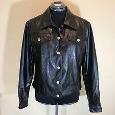 Dollhouse Sz M Black Polyurethane Button Down Faux Leather Moto Jacket