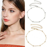 Lady Gold/Silver Simple Beaded Choker Necklace Satellite Chain Minimal Delicate