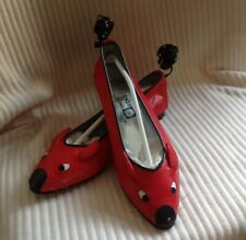 TRUE VINTAGE 80's ENZO OF ROMA KURT GEIGER RED LEATHER MOUSE FLATS PUMPS Size 40