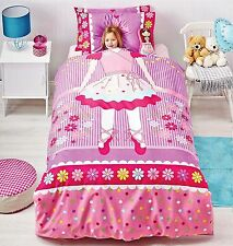 New Ballerina Pink Purple Girls SINGLE Size Quilt Doona Cover Set