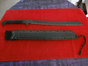 "Large 25 3/4"" Black Machete With Braided Handle + Custom Plastic Sheath *LOOK!!!"