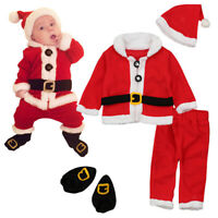 4Pc Baby Boy Girl Christmas Santa Claus Costume Top+Pants+Hat Outfit Clothes Set